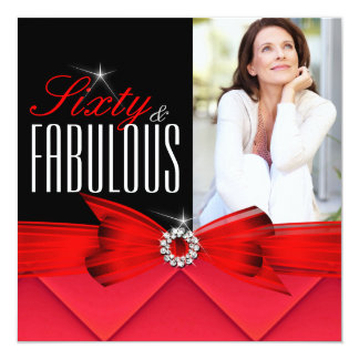 Fabulous 60 Photo Red Black Elegant Birthday Card