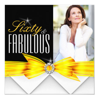 Fabulous 60 Photo Yellow Elegant Modern Birthday 2 5.25x5.25 Square Paper Invitation Card