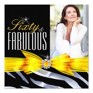 Fabulous 60 Photo Yellow Zebra Black Birthday Card