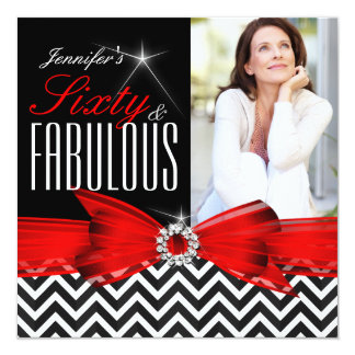 "Fabulous 60 Red Chevron Black White Birthday 2 5.25"" Square Invitation Card"