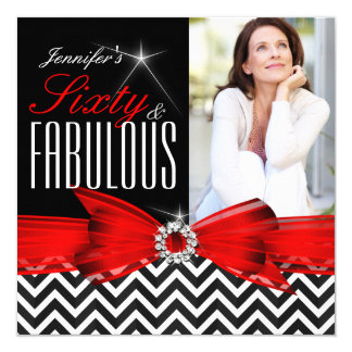 Fabulous 60 Red Chevron Black White Birthday 2 5.25x5.25 Square Paper Invitation Card