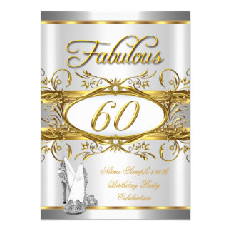 Fabulous 60th Birthday Gold Silver High Heels 60 Card