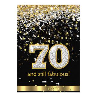 Fabulous 70 Gold Silver Streamers 70th Birthday B 5x7 Paper Invitation Card