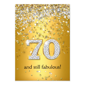Fabulous 70 Gold Silver Streamers 70th Birthday Card