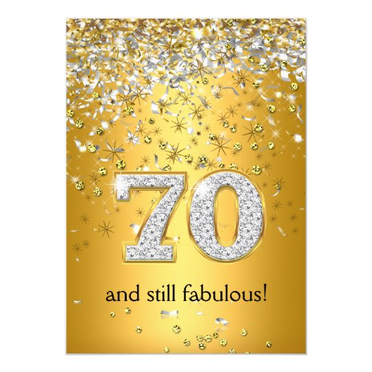 Fab At 70: Fabulous 70 Gold Silver Streamers 70th Birthday Card