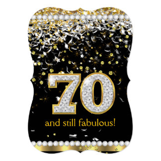 Fabulous 70 Gold Silver Streamers 70th Party Card