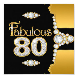 Fabulous 80 80th Birthday Gold Black Diamond Card
