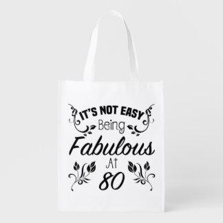 Fabulous 80th Birthday Reusable Grocery Bag