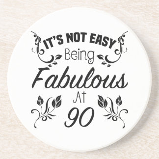 Fabulous 90th Birthday Drink Coaster