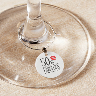 Fabulous and Fifty Wine Glass Charm