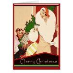 Fabulous Art Deco Merry Christmas Glamorous Greeting Card