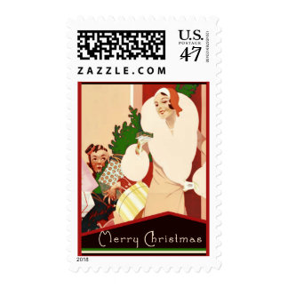 Fabulous Art Deco Merry Christmas Postage Stamp