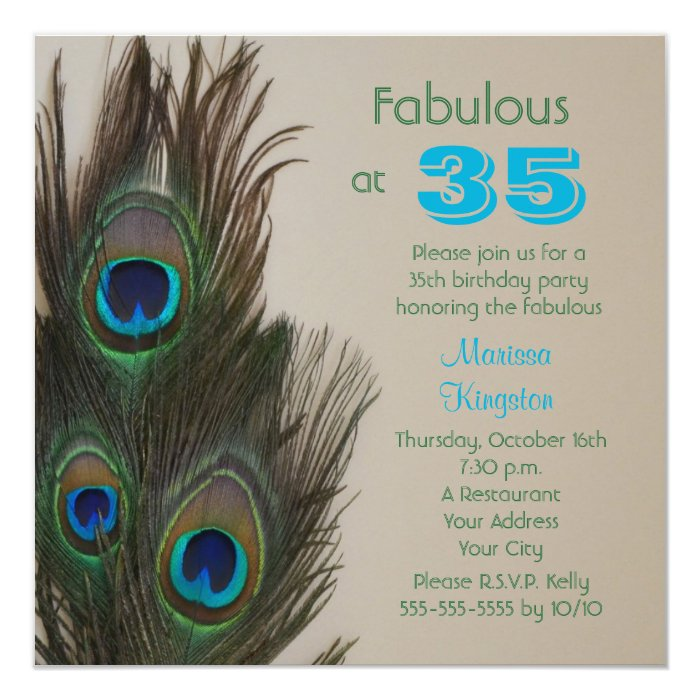 fabulous at 35 35th birthday party invitation