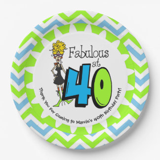 Fabulous at 40 40th Birthday Paper Plates 9 Inch Paper Plate