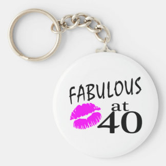 Fabulous at 40 basic round button keychain