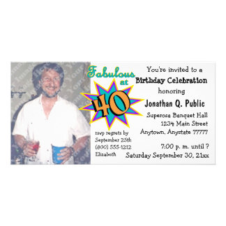Fabulous At 40 Birthday Party Photo Invitation