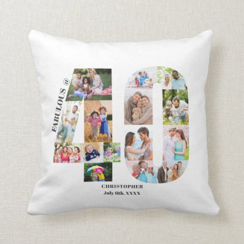 Fabulous at 40 Photo Collage 40th Birthday Custom Throw Pillow