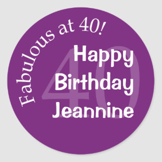Fabulous at 40 Round Sticker - Purple