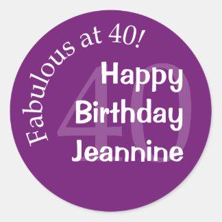 Fabulous at 40 Round Sticker - Purple