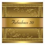 Fabulous at 50 Birthday Party Gold Invitation Custom Invite