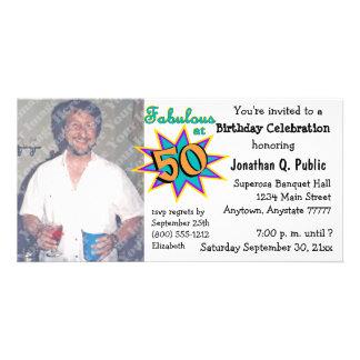 Fabulous At 50 Birthday Party Photo Invitation