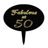 Fabulous at 50 Oval Cake Topper