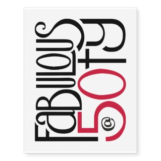 Fabulous at 50 red Temporary Tattoos