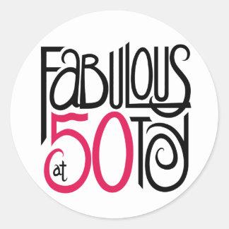 Fabulous at 50 round sticker