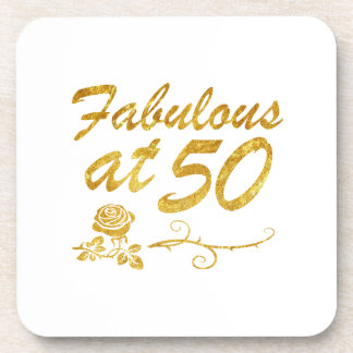 Fabulous at 50 years beverage coaster