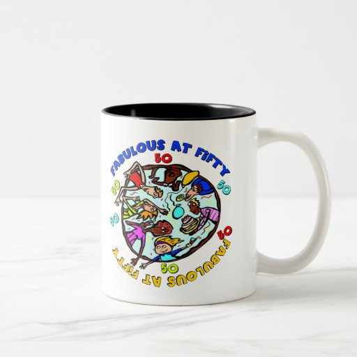 Fabulous At 50th Birthday Gifts Two-Tone Coffee Mug