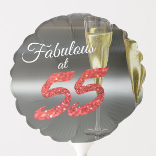 Fabulous At 55 Girly Birthday Coral Glitter Party Balloon