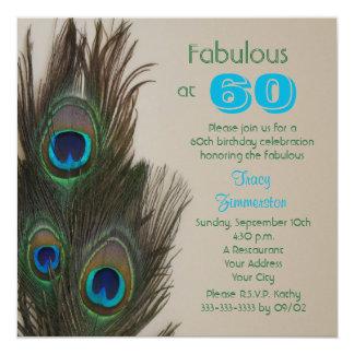 "Fabulous at 60 60th Birthday Party Invitation 5.25"" Square Invitation Card"