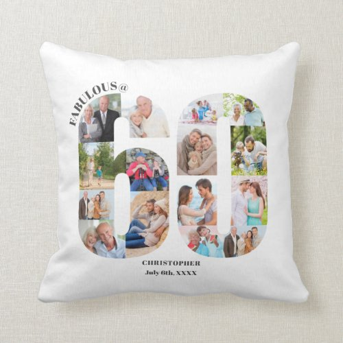 Fabulous at 60 Photo Collage 60th Birthday Custom Throw Pillow