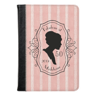 Fabulous at Fifty Cameo Lady Silhouette Dusty Pink Kindle Case