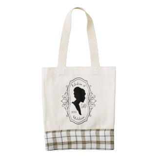 Fabulous at Fifty Cameo Lady Silhouette Elegant Zazzle HEART Tote Bag