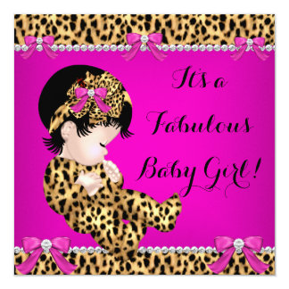 Fabulous Baby Shower Baby Cute Girl Leopard Pink 2 Invitation
