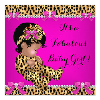Fabulous Baby Shower Baby Cute Girl Leopard Pink Card
