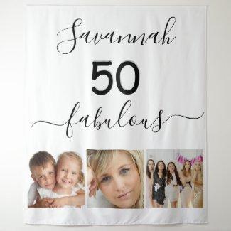 Fabulous birthday custom photo surprise party tapestry