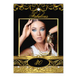Fabulous Birthday Party Black Gold Floral Photo 5x7 Paper Invitation Card