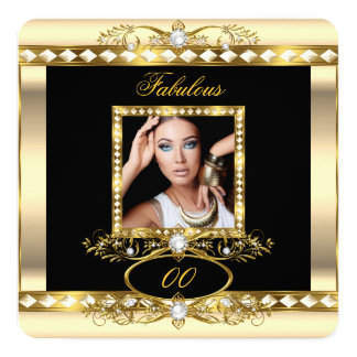 Fabulous Birthday Party Cream Pearl Gold Photo 2 5.25x5.25 Square Paper Invitation Card