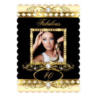 Fabulous Birthday Party Cream Pearl Gold Photo 5x7 Paper Invitation Card