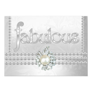 Fabulous Birthday Party Silver White Diamond Pearl Card
