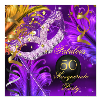 Fabulous Birthday Purple Gold Masquerade Party 2 5.25x5.25 Square Paper Invitation Card