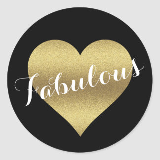 Fabulous Black & Gold Wedding Heart Party Stickers