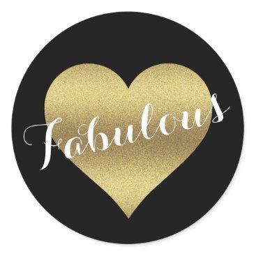 McTiffany Tiffany Aqua Fabulous Black & Gold Wedding Heart Party Stickers