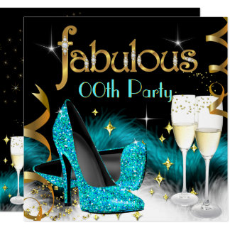 Fabulous Champagne Party Glitter Teal High Heel Card