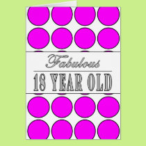 Fabulous Eighteen Year Old Pink Polka Dots Card
