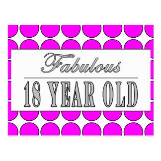 Fabulous Eighteen Year Old Pink Polka Dots Postcard