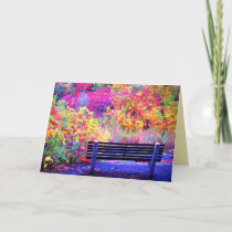 Fabulous Fall Colors Bench Autumn Leaves Scenic Card