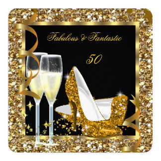 Fabulous Fantastic 50 Gold Black Birthday Party 5.25x5.25 Square Paper Invitation Card